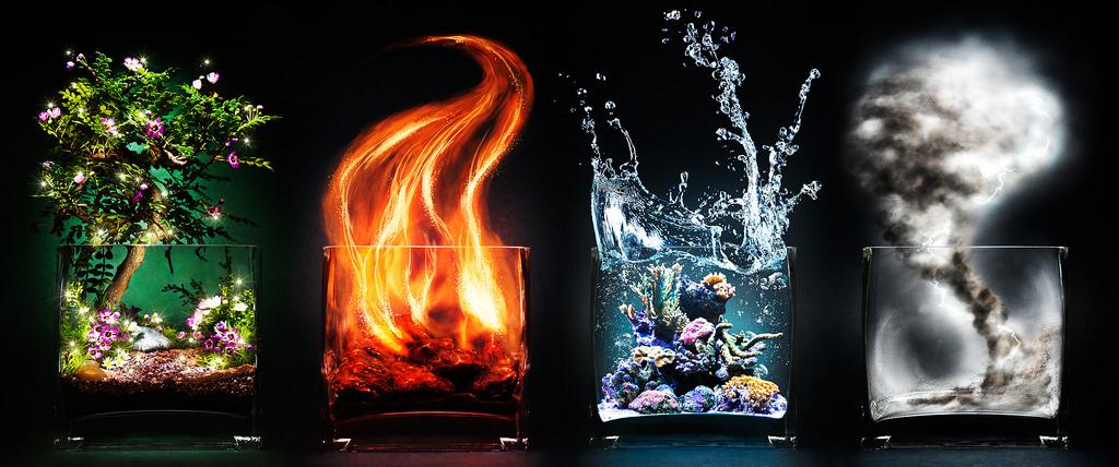 Четыре стихии: Земля, Огонь, Вода и Воздух