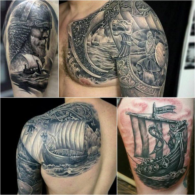 """Разные вариации татуировок """"Корабль викингов"""""""