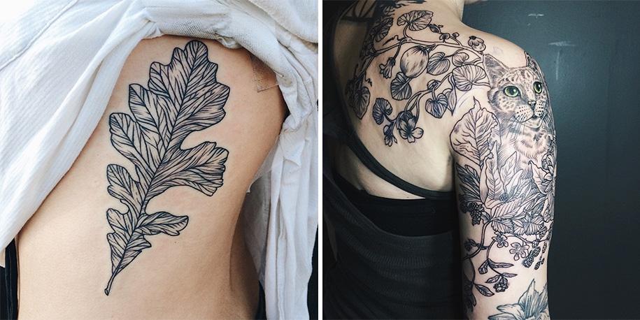 Татуировки с растениями и животными